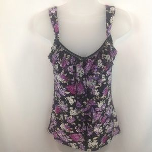 White House Black Market Ruffles Floral Sleeveless